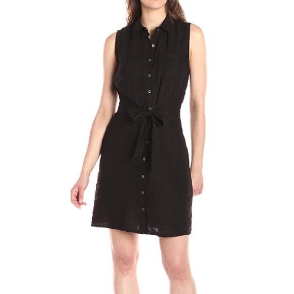 5ee19b828f Three Dots Linen Tie Front Shirt Dress Med NEW